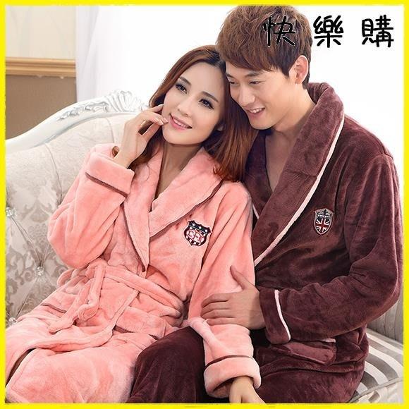 法蘭絨睡袍浴袍珊瑚絨加厚長袖睡衣家居服浴衣