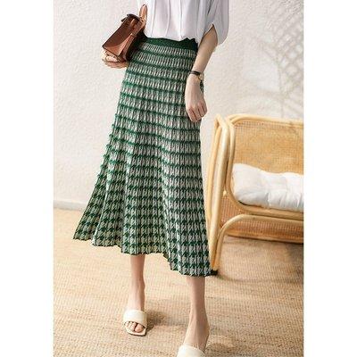 XG 夏季涼爽綠 千鳥格針織亮絲百摺裙 鬆緊腰長裙