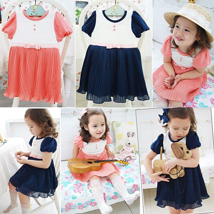 韓版《雪紡紗蕾絲》連身短袖洋裝 (J2-2)