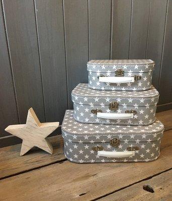 [SECOND LOOK]英國雜貨 灰色小星星 復古金屬手提箱組 小皮箱 .居家裝飾