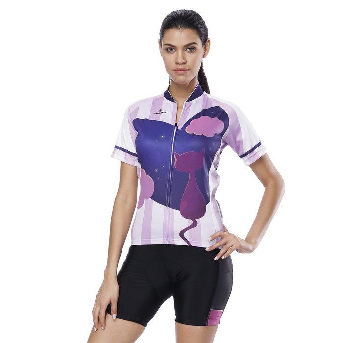 【Paladin】女款短袖車衣褲套裝 :: 星空下貓