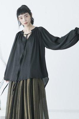 Dark.Q DQ 復古文藝雪紡襯衫燈籠袖寬鬆垂感順滑設計上衣