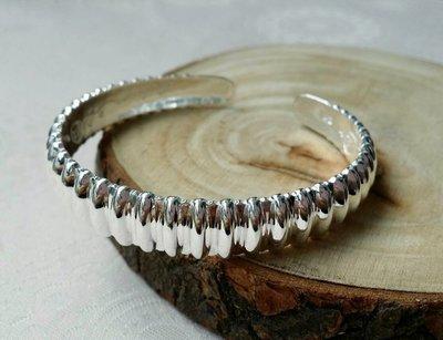 嗨,寶貝銀飾珠寶* 925純銀☆990純銀 時尚 直線造形 實心 開口純銀手環 手鐲