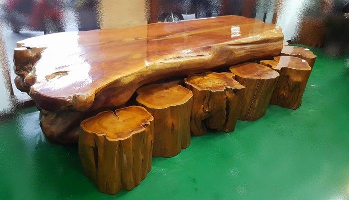 宏品二手家具館 台中全新中古傢俱家電買賣推薦  LG61008*一體成形天然原木 檜木泡茶桌加8椅*實木泡茶桌 戶外桌椅
