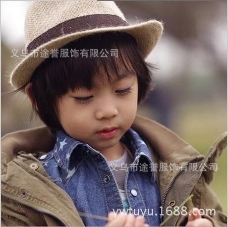 綠光街鋪 LM81兒童帽子韓版兒童帽子麻料兒童禮帽草帽英倫爵士帽S258