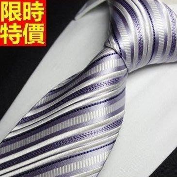 領帶 桑蠶絲男配件-奢華經典商務條紋手打領帶66ae50[獨家進口][米蘭精品]