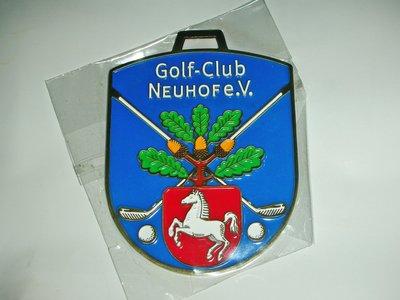 aaL皮商旋.全新附袋Golf-Club NEUHOF e.V.銅質合金吊飾!--值得收藏!/@@右/-P