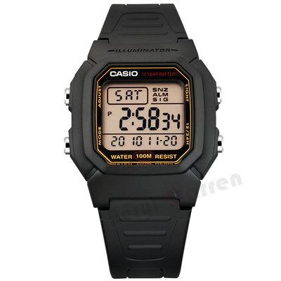 運動手表casio卡西歐手表黑色戶外運動休閑防水男士電子表W-800H-1A W-96H
