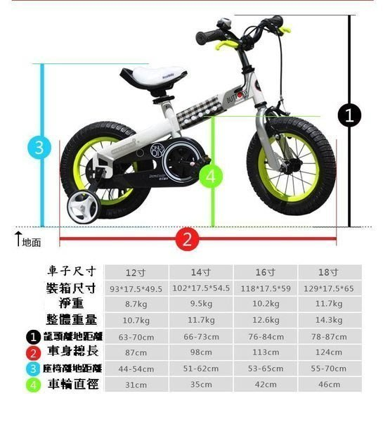 e世代優貝14吋輪胎扣子車Royalbaby BUTTONS BIKE兒童腳踏車/輔助輪兒童車/兒童自行車生日禮物