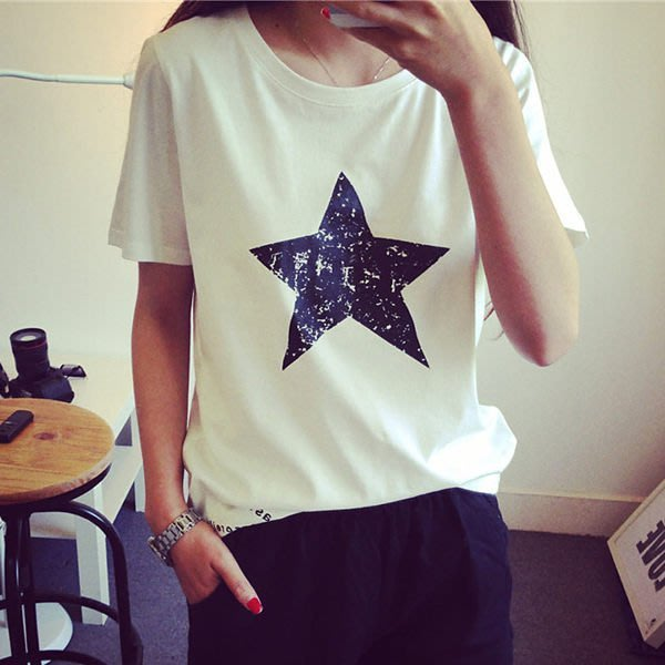 韓版經典圓領星星圖案短袖T恤女(T-041)均碼