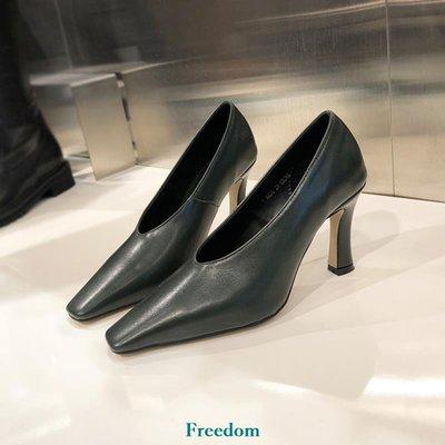 Freedom女鞋小小蘇韓國女鞋ol方頭純色簡約通勤套腳小馬蹄高跟鞋細跟單鞋B16F