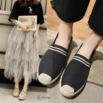 EmmaShop艾購物-復古雙色針織休閒平底漁夫鞋