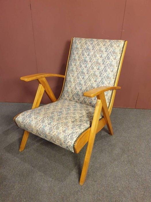 【卡卡頌 歐洲跳蚤市場/歐洲古董】 法國老件~  後現代  曲木  紮實  高品質 扶手休閒椅  ch0336
