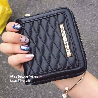 Rebecca Minkoff 菱格紋拉鍊錢包 卡包-黑色