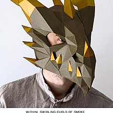 面具龍頭面具 立體抖音派對cos年會活動道具 手工紙模diy上古卷軸頭套