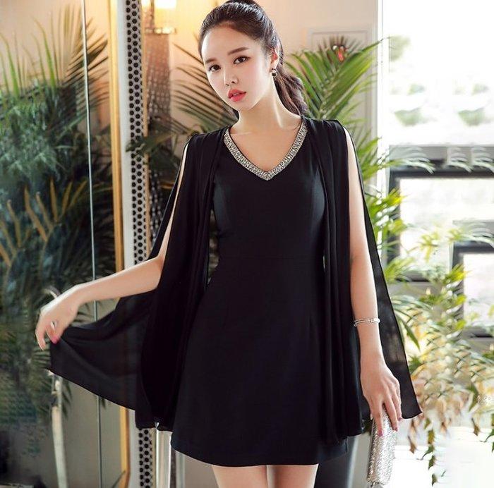 小禮服無袖洋裝黑色釘鑽V領時尚披肩款修身無袖洋裝許願魔鏡@wishing Mirror-*-D18BDR191