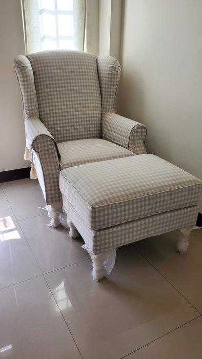 美生活館--全新美式鄉村風格紋布主人椅/單人沙發/媽咪椅(附腳凳)