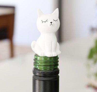[SECOND LOOK]英國雜貨 白色貓咪造型 超可愛 軟木塞 紅酒塞