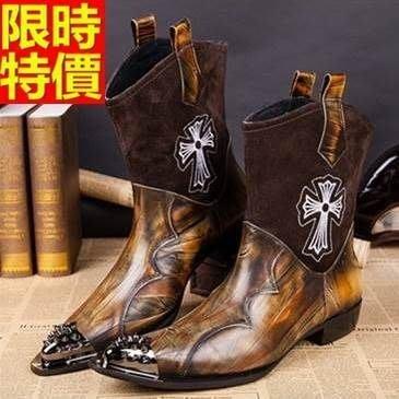尖頭皮鞋 真皮中筒靴-時尚鉚釘拼接個性低跟男鞋子2色65ai40[獨家進口][米蘭精品]