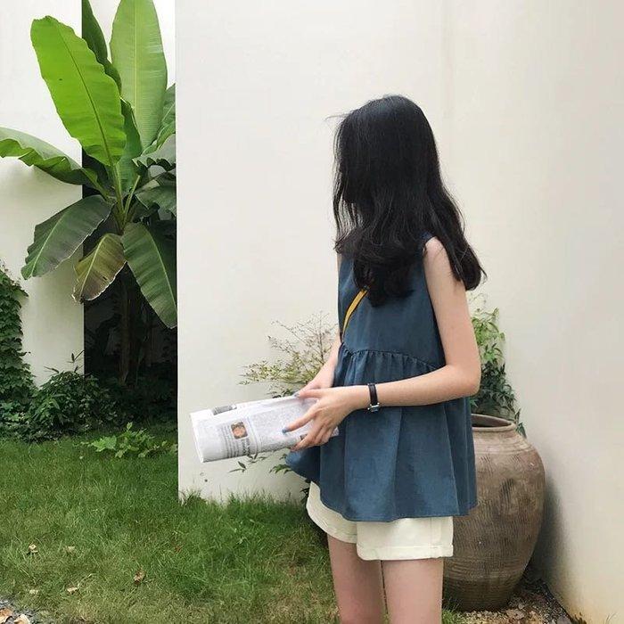 韓版雪紡氣質百搭娃娃裝無袖襯衫上衣