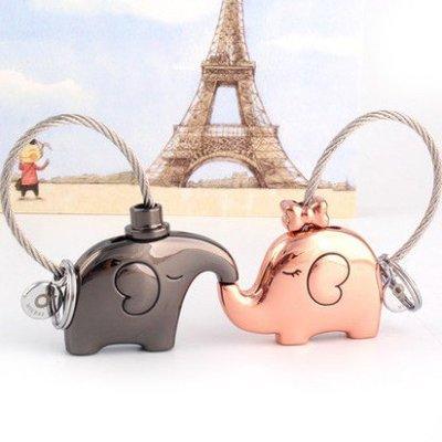 ☜男神閣☞定制情侶鑰匙扣一對創意汽車鑰匙扣小象鑰匙掛件可愛鑰匙鍊定制交換禮物