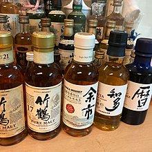日本180ml白州 余市 知多 曆 竹鶴17 竹鶴21共五支威士忌 whisky