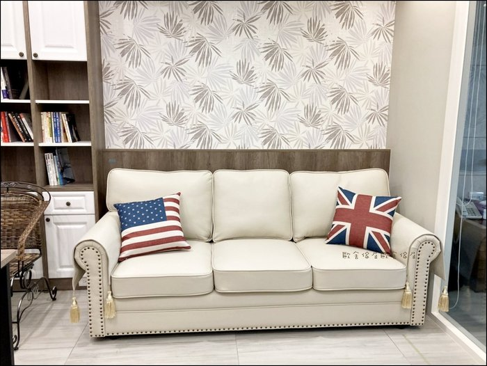 美式輕奢華風 米白色鉚釘皮革三人座沙發 客廳椅附抱枕 休閒椅營業場所大廳椅另有單人沙發雙人沙發主人椅貴妃椅【歐舍傢居】