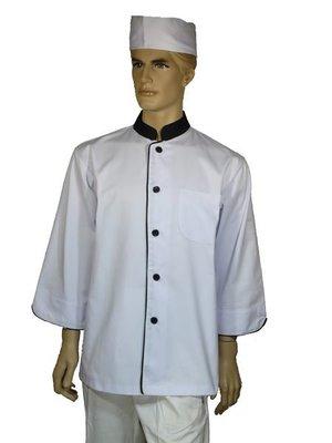A153中山黑領單排滾單黑邊七分袖廚師服