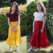 中大童 優質 女童【Q寶童裝】夏款 SS-038 純棉時尚荷葉袖收腰拼色 連身裙 洋裝