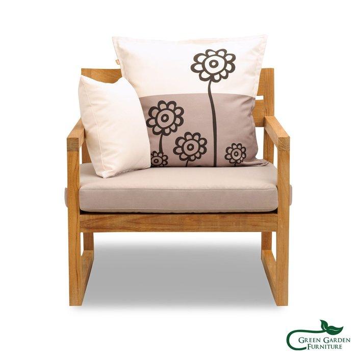 紐約 柚木單人沙發椅(原色)【大綠地家具】100%印尼柚木實木/無上漆原木款/實木沙發
