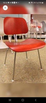 [保證真品] Herman Miller Eames DCM Stain 紅色 梣木 鐵腳 2014年