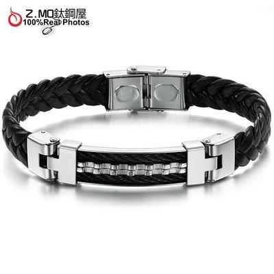 黑銀鋸齒型編織皮繩 中性手環 男性運動手環推薦 單件價【CKLS816】Z.MO鈦鋼屋