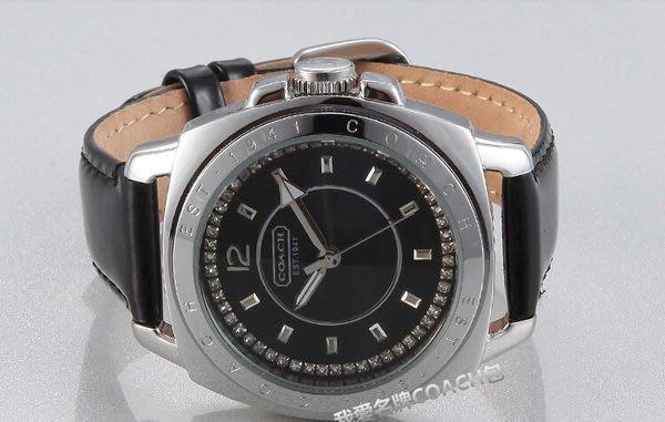 我愛名牌COACH包 美國100%正品【清倉低價出售購買兩件免運】14501289鑲鑽黑色皮帶腕錶女錶