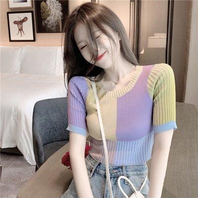 短袖針織衫 冰絲 性感短款拼色修身毛 針織衫 韓版短袖法式豎條紋上衣女