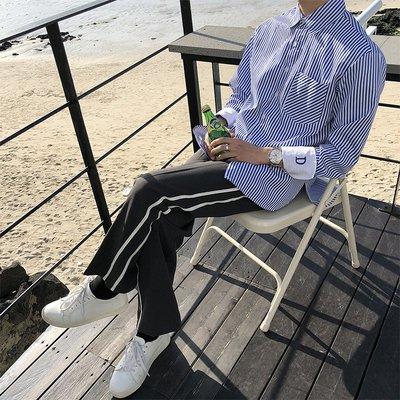 【FADE.MEET】 簡約側條紋休閒長褲
