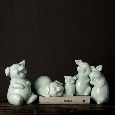 客臨門 青釉豬生肖豬擺件新中式陶瓷擺件豬 影青創意家居客廳辦公室陶瓷ytjj-317
