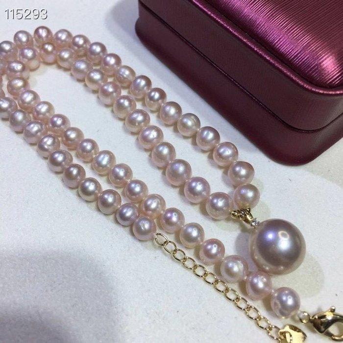 (輕舞飛揚)天然淡紫色珍珠,珍珠7-8mm左右珍珠吊墜13-14mm左右強光微瑕~天然珍珠項鍊➕18k金鑲嵌愛迪生紫珍珠吊墜
