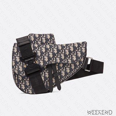 【WEEKEND】 DIOR Saddle Oblique Jacquard 老花 馬鞍包 肩背包 胸口包 米+黑色