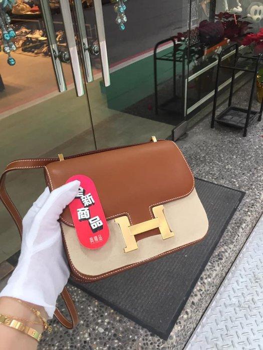 典精品名店 Hermes 全新 焦糖 Gold 馬鞍皮 Mini Constance 19 cm 金扣