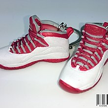 =CodE= 全新AIR JORDAN 10 小鞋模型鑰匙圈(白紅).RETRO.吊飾.NIKE.AJ10.OG.黑斑馬