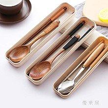 全館免運-筷子勺子套裝學生成人兒童三件套木質不銹鋼旅行便捷餐具 QG25700 【潮范時光機】