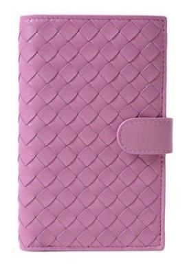 EZ Fashion 18SS義大利進口真品Bottega Veneta真品編織扣式中夾/錢包/皮夾-桃粉紅