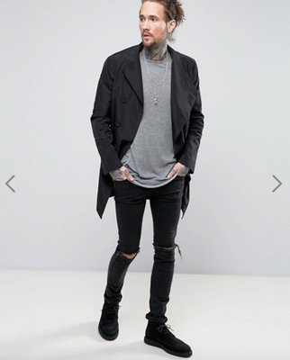 英國潮流品牌 Religion Asymmetric Trench Coat 長版外套大衣 黑色 韓系