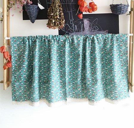 日式小碎花 棉麻穿桿式窗簾/裝飾簾 (140x50)