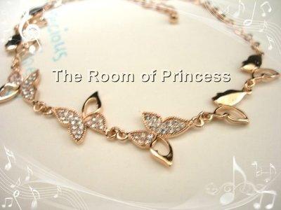 *..公主的房間..*..玫瑰金蝴蝶白鑽手鍊/特價330元.3件免運/paypal