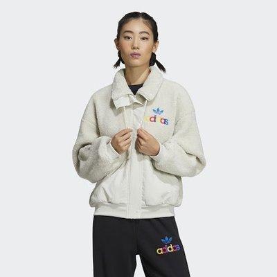 Adidas 白色 外套 立領 刷毛 拼接 彩色logo 愛迪達 女款 GV2933