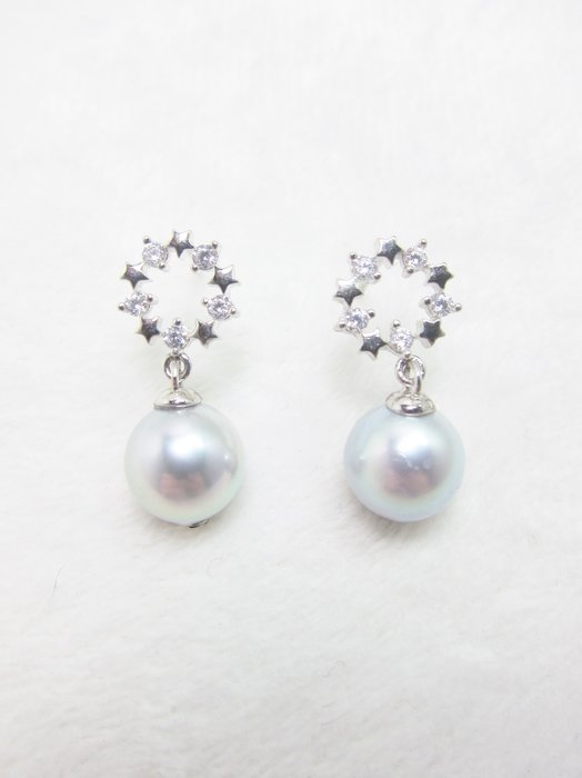 8.6mm日本珍珠星狀耳環【元圓珠寶】