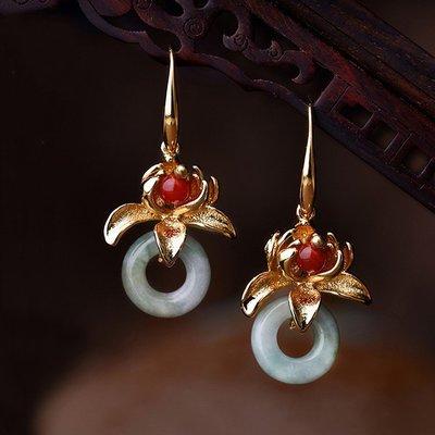 民族風飾品緬甸玉翡翠平安扣百搭耳墜女鍍金復古典氣質花朵長耳環