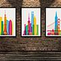 現代簡約裝飾畫城市建築美國紐約波普藝術天...