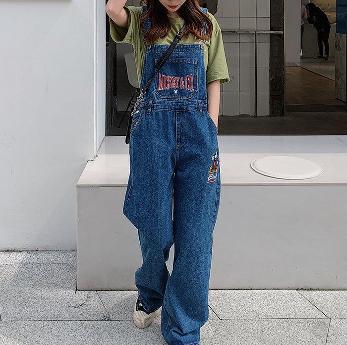 SEYES  日系古著休閒隨意美式卡通米奇刺繡牛仔吊帶褲